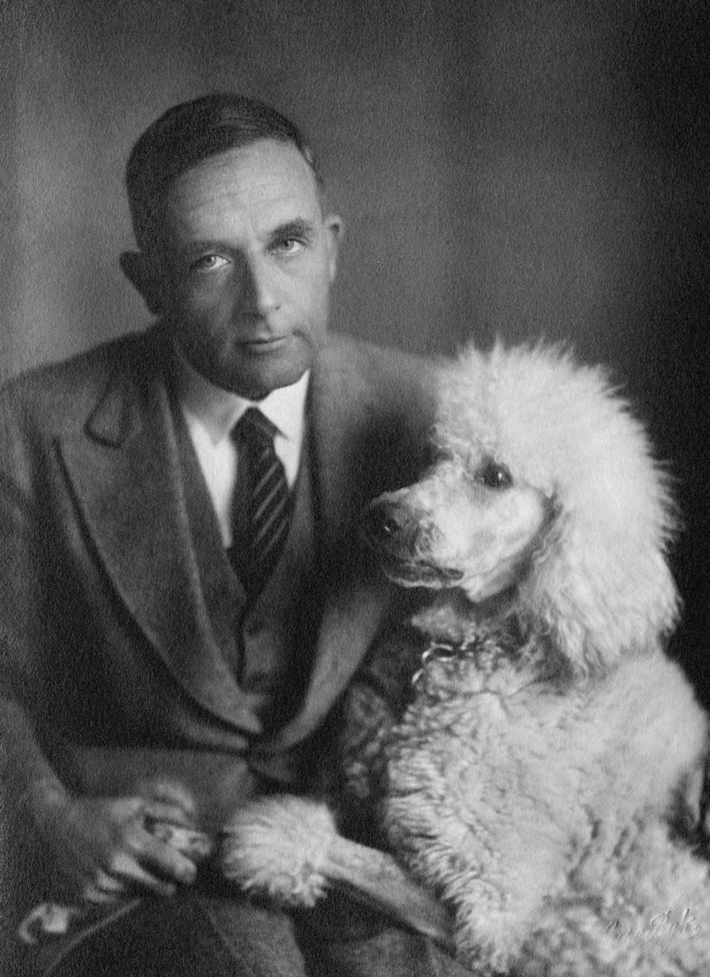 Otto Heinrich Warburg with dog.